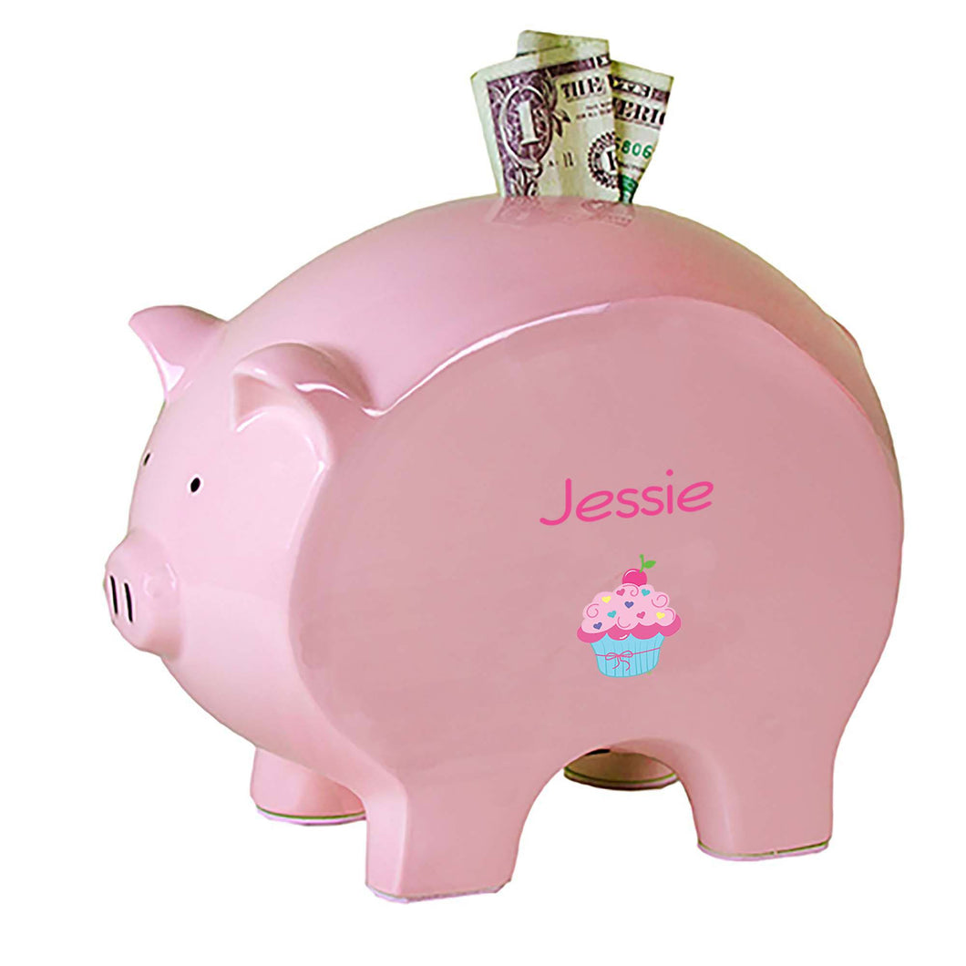 Personalized Pink Piggy Bank with Single Cupcake design