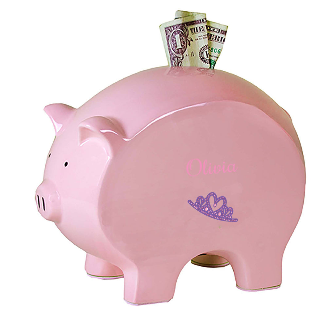 Personalized Pink Piggy Bank with Single Tiara design