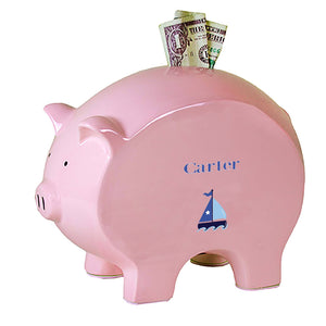 Personalized Pink Piggy Bank with Single Sailboat design