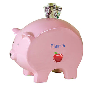 Personalized Pink Piggy Bank with Single Apple design