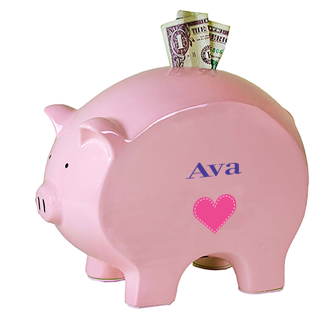 Personalized Pink Piggy Bank with Single Heart design