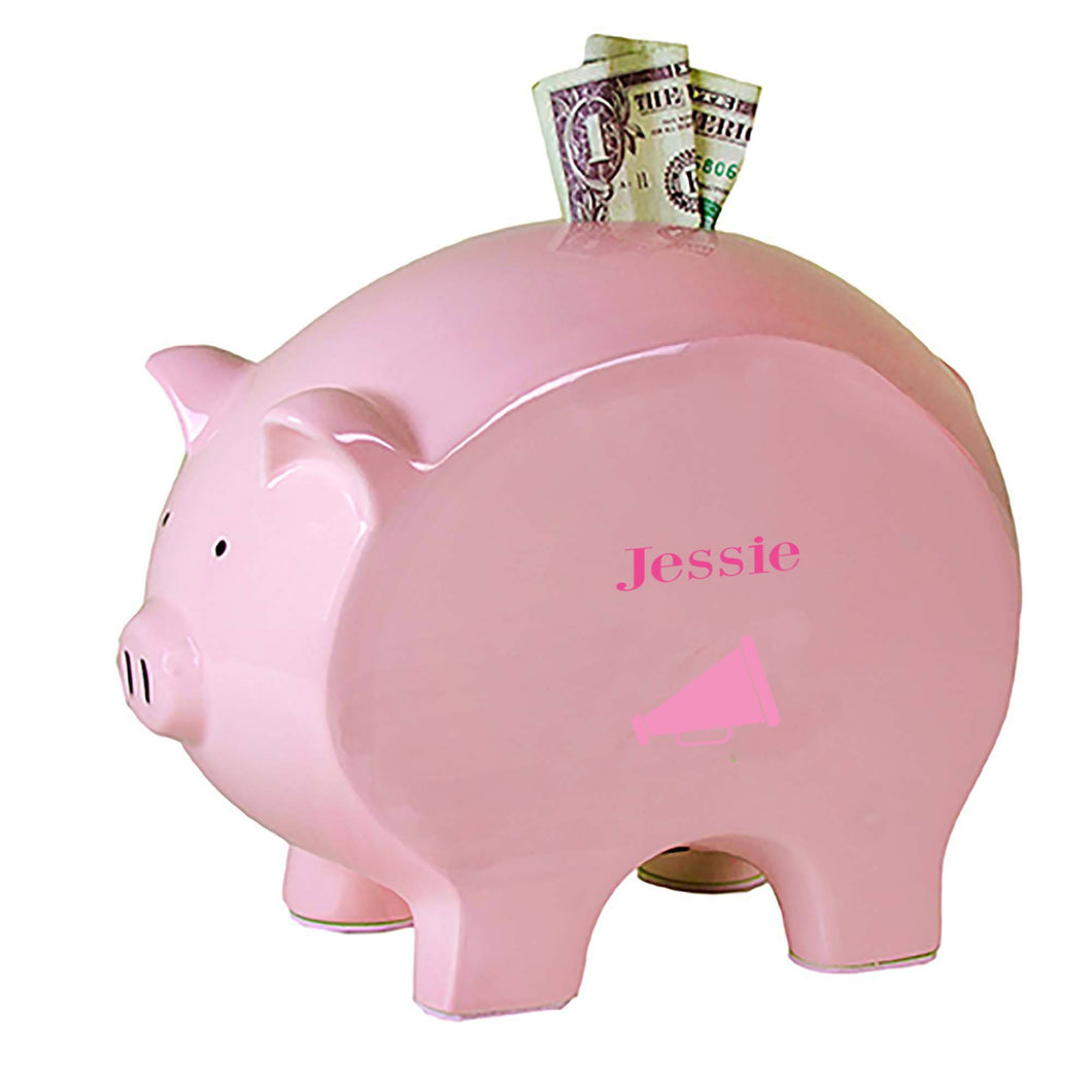 Personalized Pink Piggy Bank with Single Megaphone design