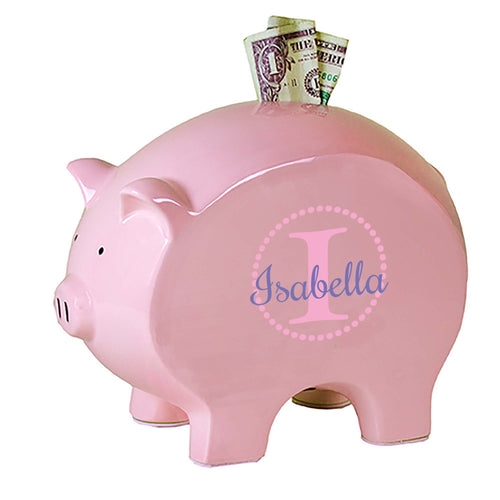 personalized pink piggy bank 700 pink circle ll