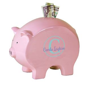 personalized pink piggy bank 711 teal circle ll