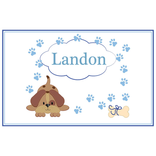 Personalized Placemat with Blue Puppy design