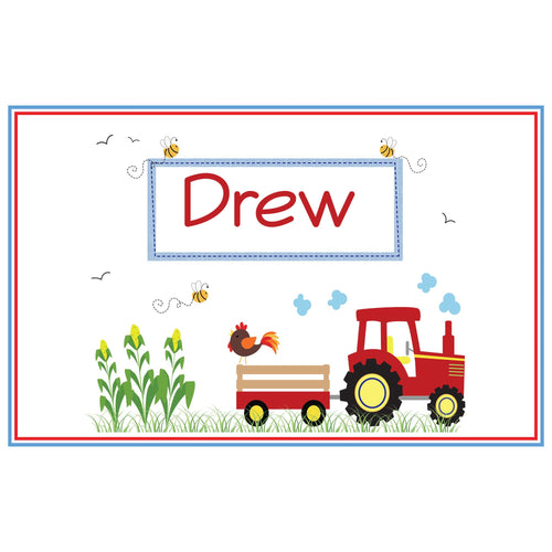 Personalized Placemat with Red Tractor design
