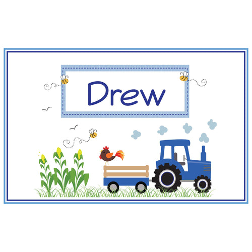 Personalized Placemat with Blue Tractor design