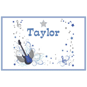 Personalized Placemat with Blue Rock Star design