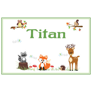 Personalized Placemat with Green Forest Animal design