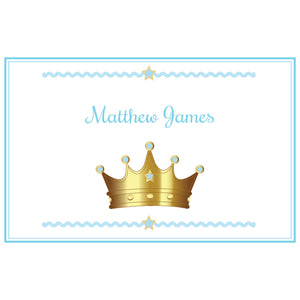 Personalized Placemat with Prince Crown Blue design