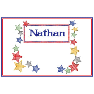 Personalized Placemat with Stitched Stars design