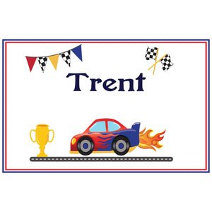 Personalized Placemat with Race Cars design