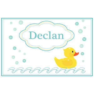 Personalized Placemat with Rubber Ducky design