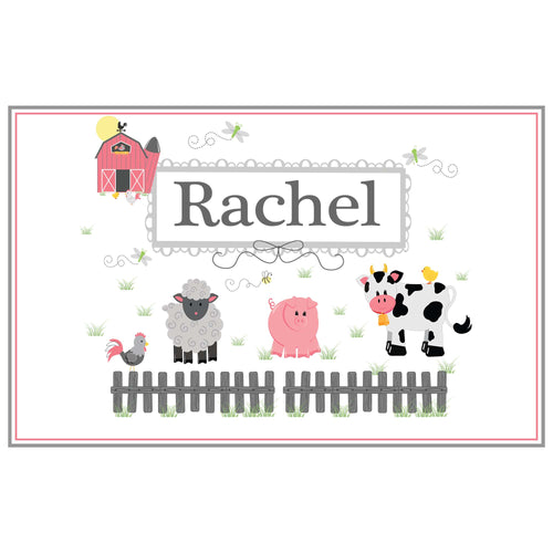Personalized Placemat with Barnyard Friends Pastel design