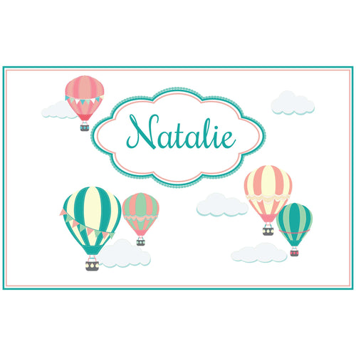 Personalized Placemat with Hot Air Balloon design