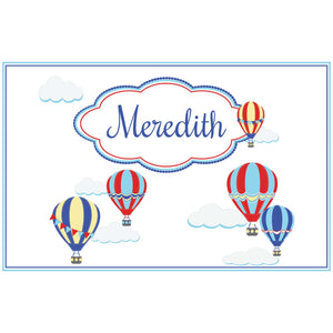 Personalized Placemat with Hot Air Balloon Primary design