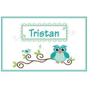 Personalized Placemat with Blue Gingham Owl design