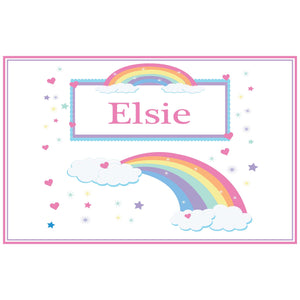 Personalized Placemat with Rainbow Pastel design