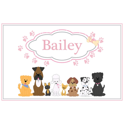Personalized Placemat with Pink Dog design