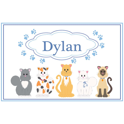 Personalized Placemat with Blue Cats design
