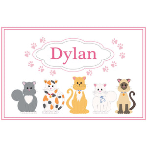 Personalized Placemat with Pink Cats design
