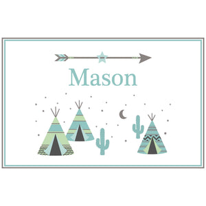 Personalized Placemat with Teepee Aqua Mint design