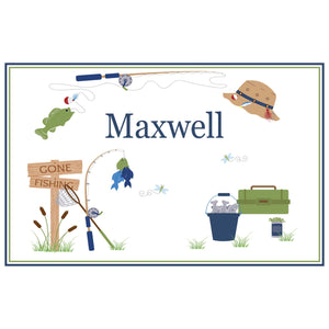 Personalized Placemat with Gone Fishing design