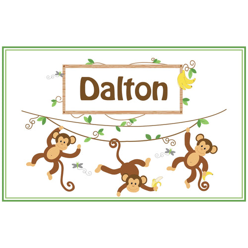 Personalized Placemat with Monkey Boy design