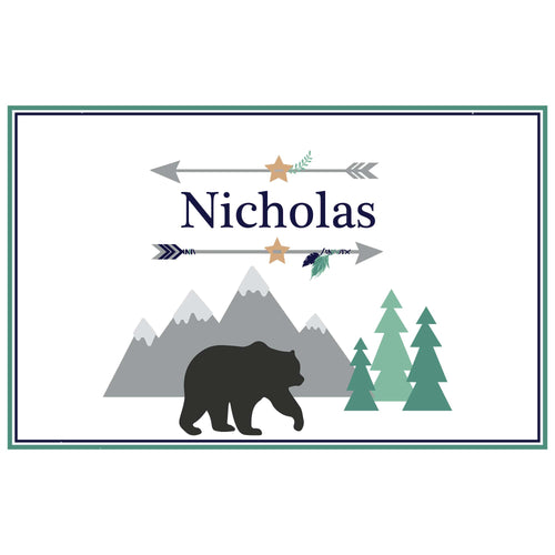 Personalized Placemat with Mountain Bear design