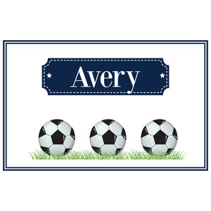 Personalized Placemat with Soccer Balls design
