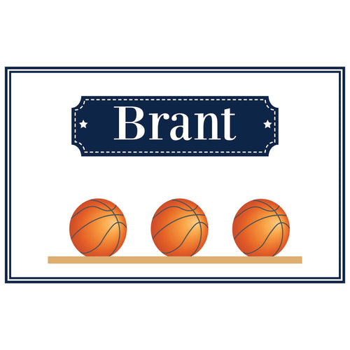Personalized Placemat with Basketballs design