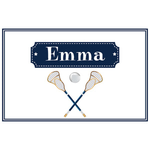 Personalized Placemat with Lacrosse Sticks design