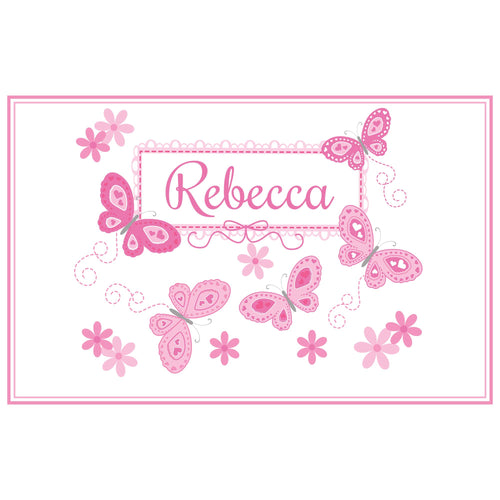 Personalized Placemat with Butterflies Pink design