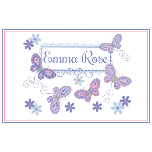 Personalized Placemat with Butterflies Lavender design