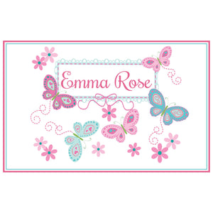 Personalized Placemat with Butterflies Aqua Pink design