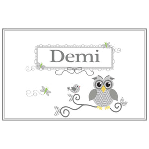 Personalized Placemat with Gray Owl design