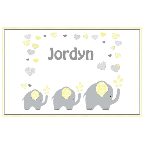 Personalized Placemat with Yellow Elephants design
