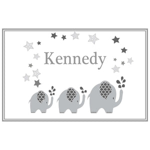 Personalized Placemat with Gray Elephant design
