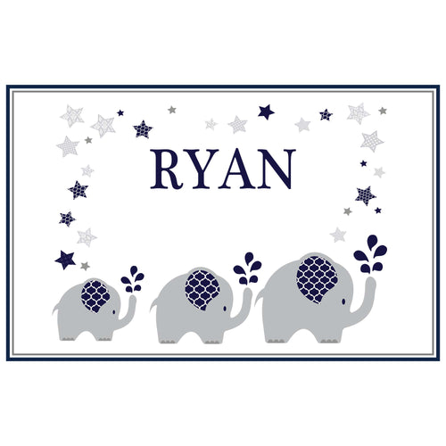 Personalized Placemat with Navy Elephant design