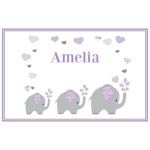 Personalized Placemat with Lavender Elephant design