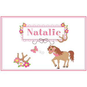 Personalized Placemat with Ponies Prancing design