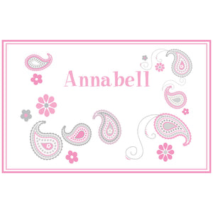 Personalized Placemat with Paisley Pink Gray design