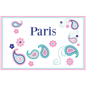 Personalized Placemat with Paisley Teal and Pink design