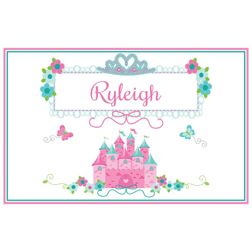 Personalized Placemat with Pink Teal Princess Castle design