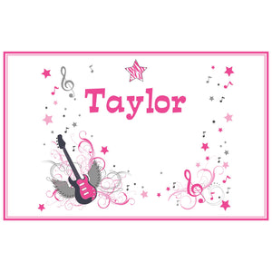 Personalized Placemat with Pink Rock Star design