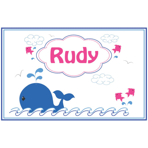 Personalized Placemat with Pink Whale design