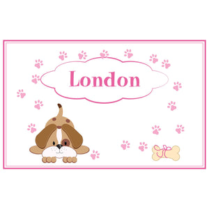 Personalized Placemat with Pink Puppy design
