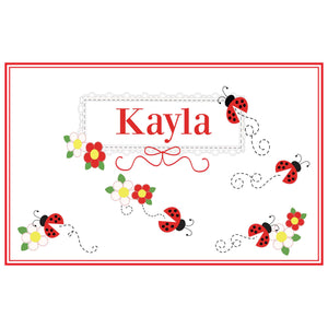 Personalized Placemat with Red Ladybugs design
