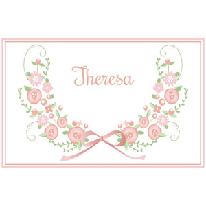 Personalized Placemat with Blush Floral Garland design