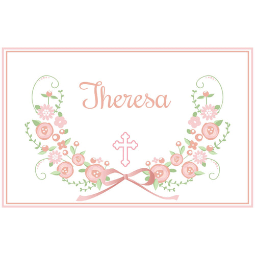 Girl's Placemat - Blush Floral Cross Garland